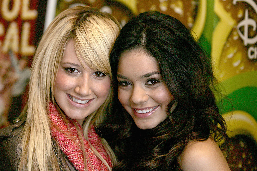 Actress Ashley Tisdale and Vanessa Anne Hudgens (R) attends a breakfast with the cast and director of  High School Musical  December 16, 2005 at the Four Seasons Hotel in Beverly Hills, California.