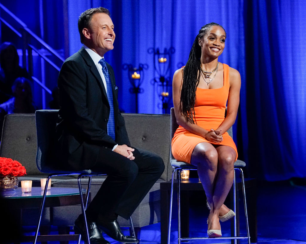 'The Bachelor' host Chris Harrison and former 'The Bachelorette' lead Rachel Lindsay during  'The Bachelor: The Women Tell All,' which aired March 2, 2020.