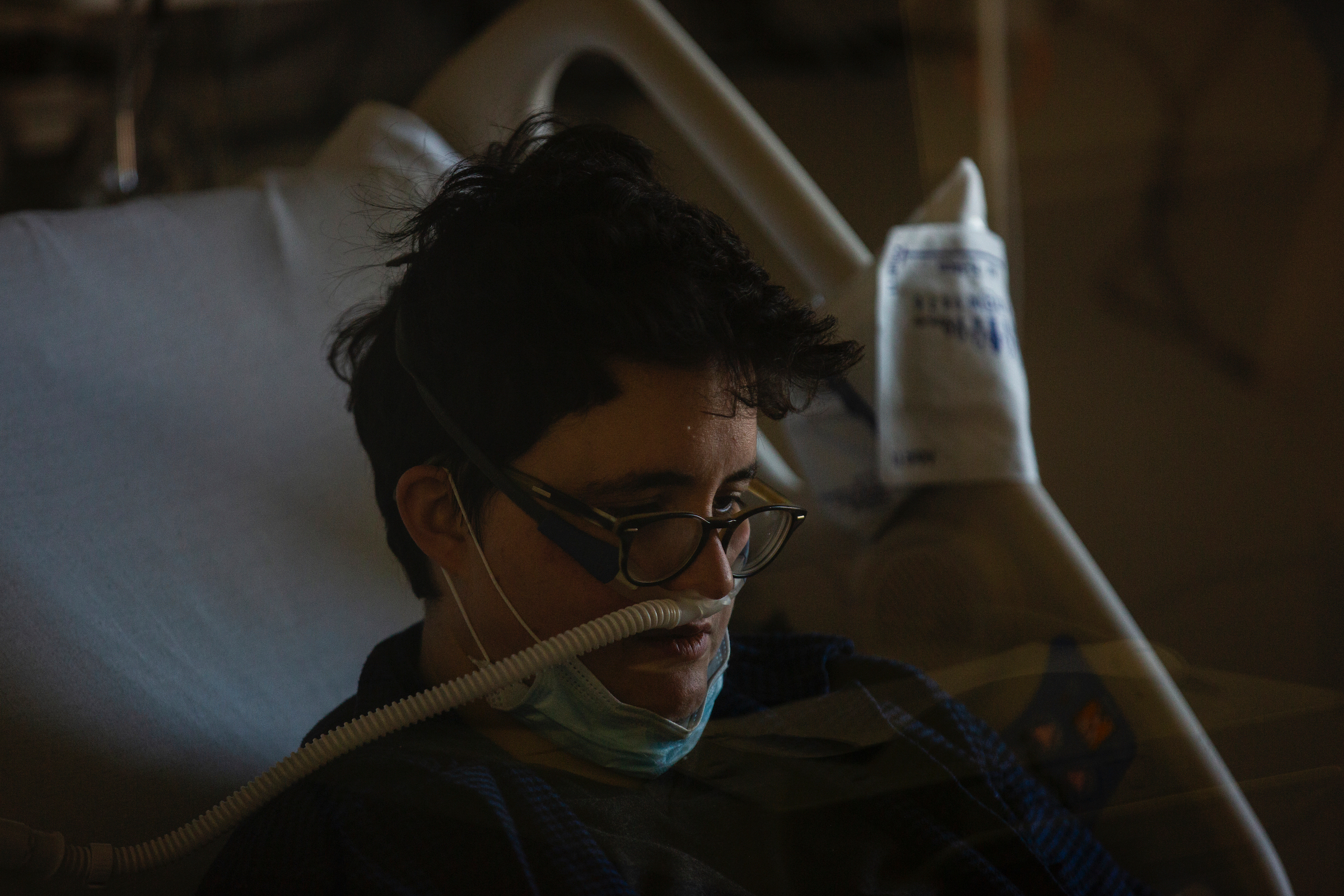 The hardest part is not being able to breathe. But also, the unknown.  Dr. Laura Mulvey, photographed resting in her isolation unit at Maimonides Medical Center in Brooklyn on March 26, was discharged the next day.