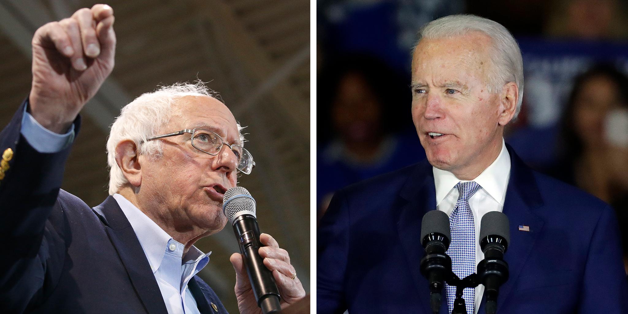Democratic presidential candidates Sen. Bernie Sanders, I-Vt., and former Vice President Joe Biden.