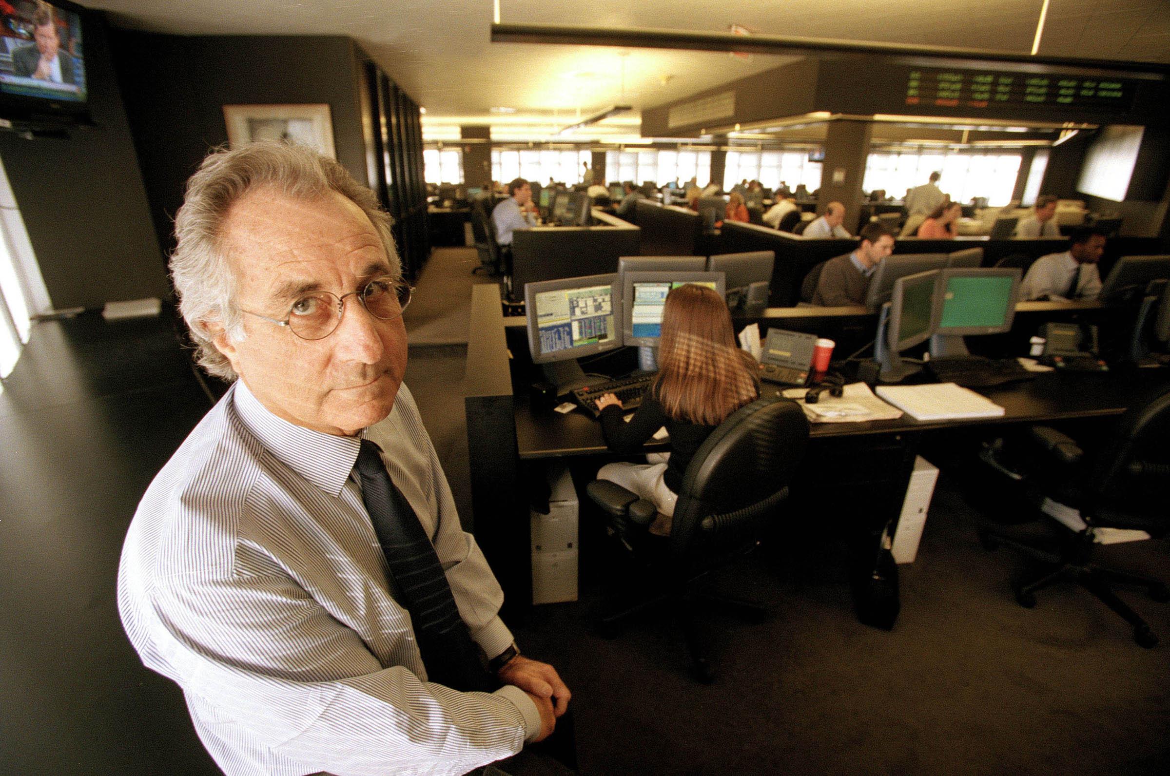 Bernard Madoff, chairman of Bernard L. Madoff Investment Securities, in his office in New York, on Dec. 30, 1999.