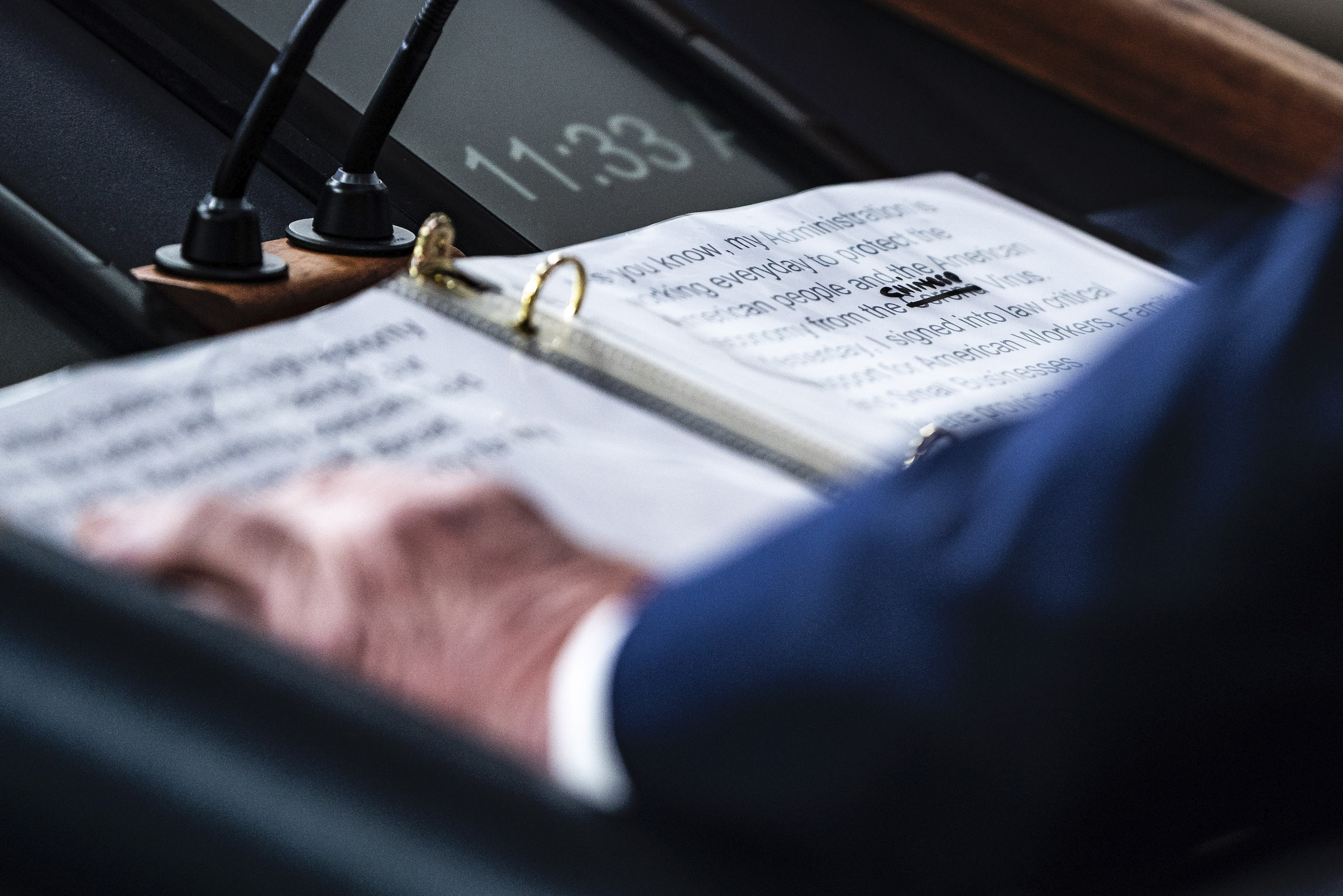 A close-up of President Trump's notes shows where  Corona  was replaced with  Chinese  Virus as he speaks at the White House on March 19, 2020.