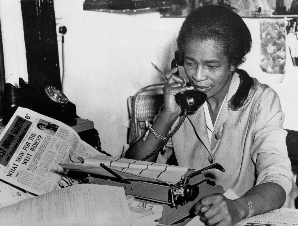 Trinidad-born journalist and activist Claudia Jones at the Brixton, London, offices of the newspaper she founded, The West Indian Gazette  in 1962.
