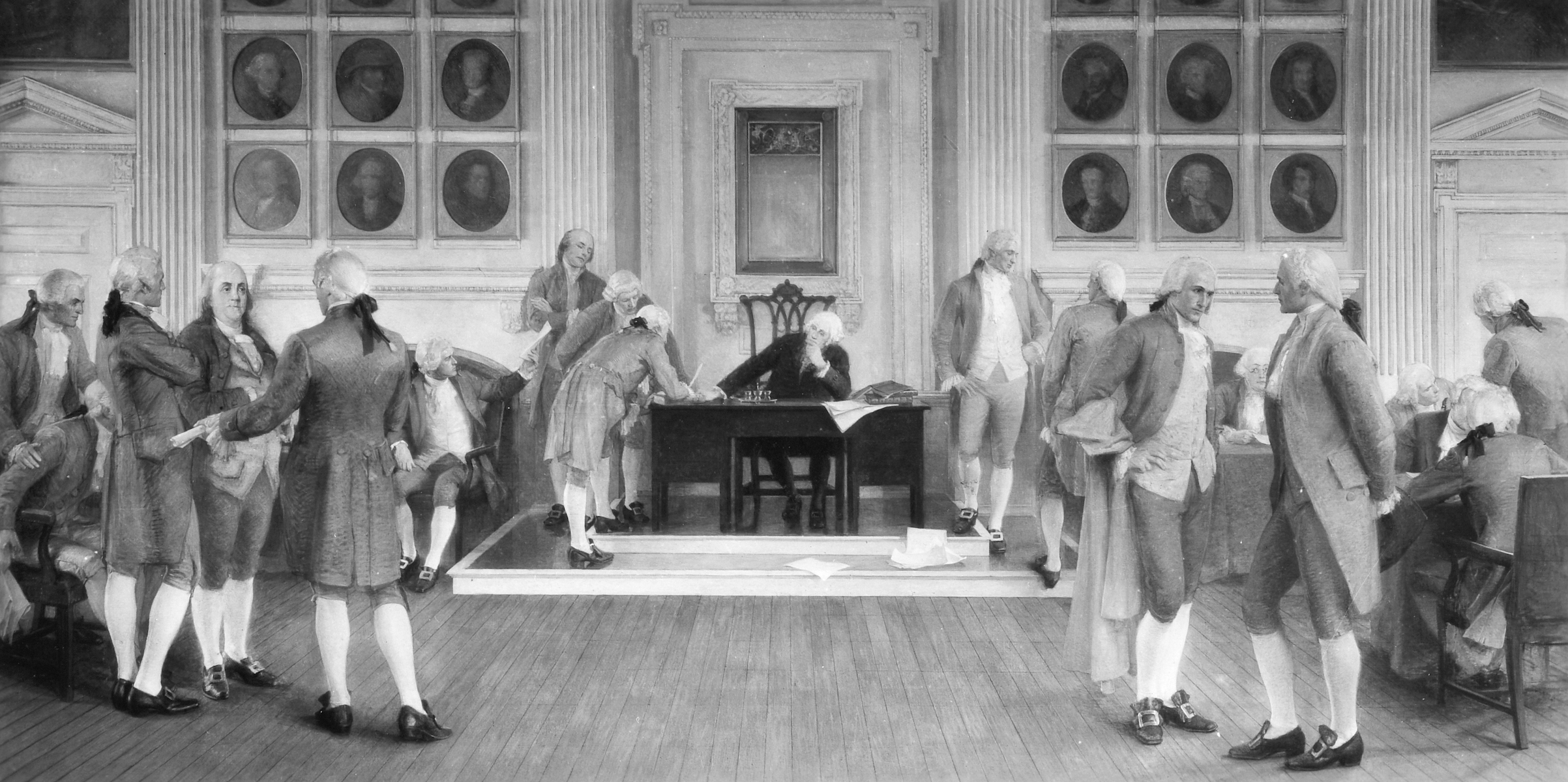 Painting, in the Wisconsin State Capitol, of 'The Signing of the American Constitution,' a mural by Albert Herter, 1910.