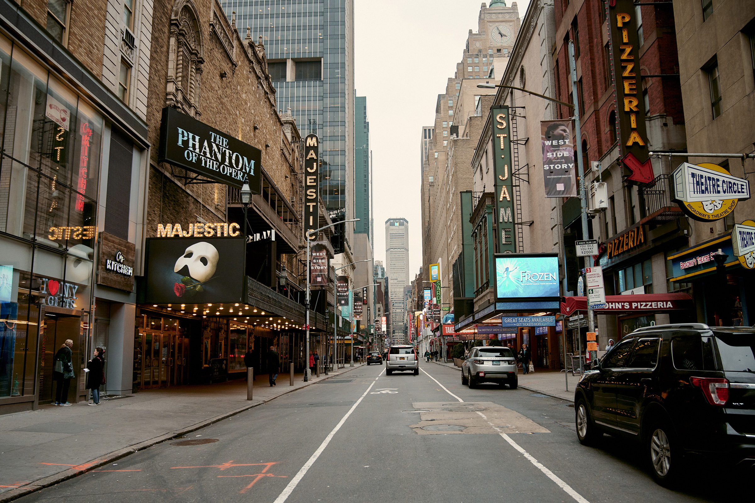 West 44th Street in Manhattan, which is home to many Broadway shows in New York, on March 12