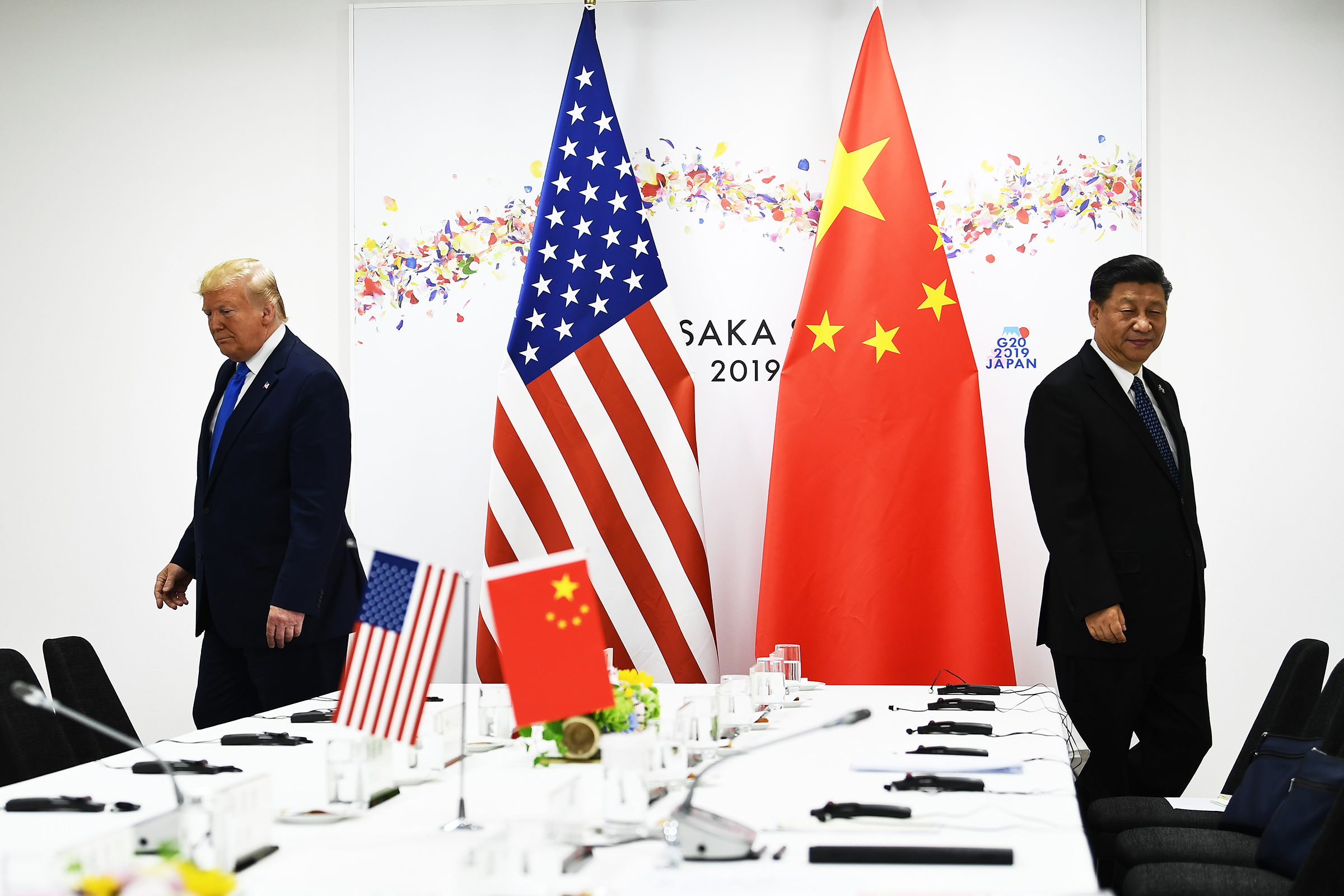Chinese President Xi Jinping and US President Donald Trump attend their bilateral meeting on the sidelines of the G20 Summit in Osaka on June 29, 2019.
