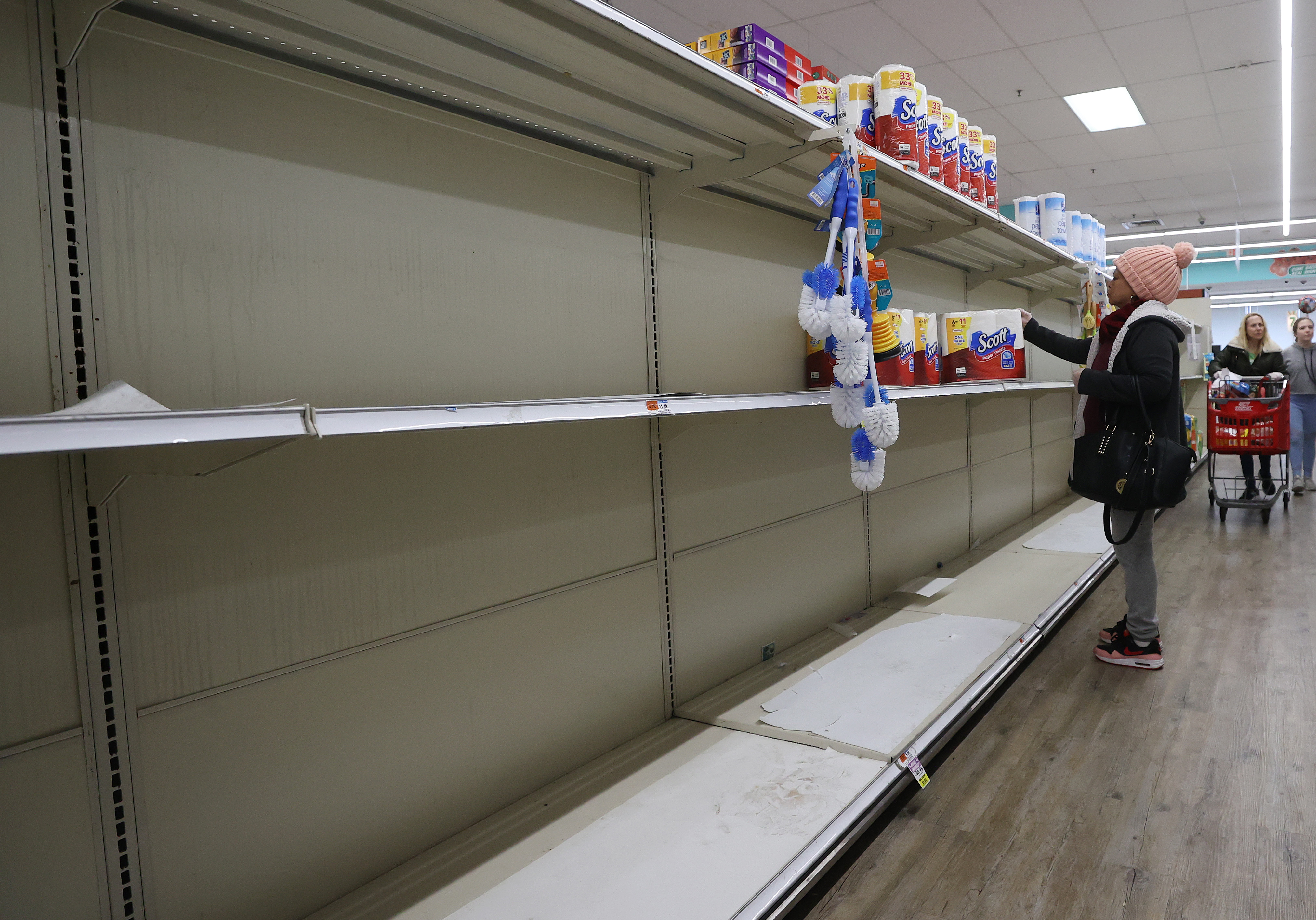 Empty shelves on March 17, 2020 in a store in Merrick, New York.