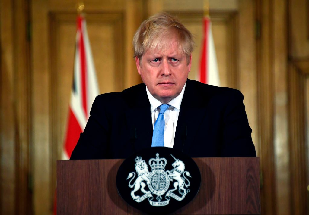 Britain's Prime Minister Boris Johnson attends a press conference about coronavirus inside 10 Downing Street in London on March 9, 2020.
