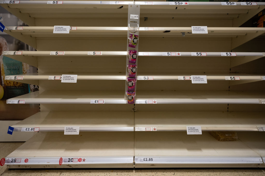 Empty shelves in a Cardiff Tesco store on March 9, 2020 in Cardiff, United Kingdom. The retailer has put in place measures to limit the number of purchases of certain items after a recent surge in demand.
