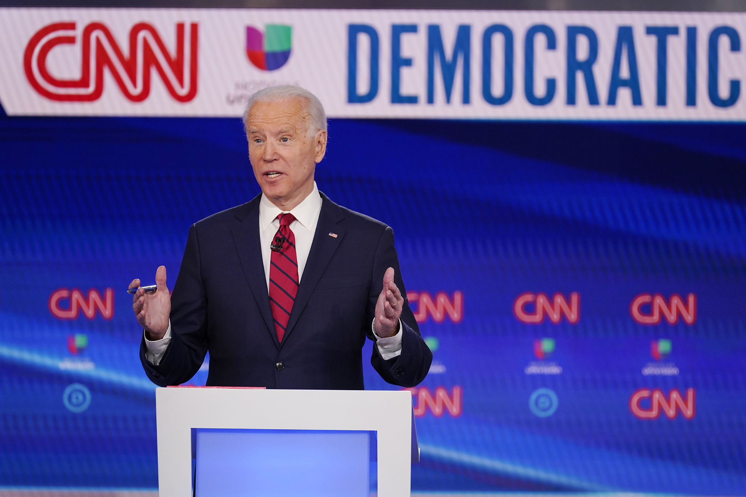 Vice President Joe Biden, participates in a Democratic presidential primary debate with Sen. Bernie Sanders, I-Vt., on March 15, 2020, in Washington D.C.