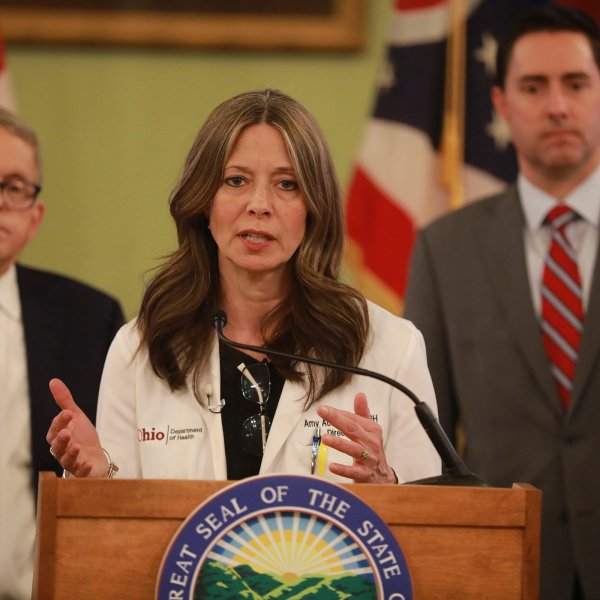 Ohio Department of Health director Dr. Amy Acton speaks at a news conference about the coronavirus on March 14, 2020 at the Ohio Statehouse.
