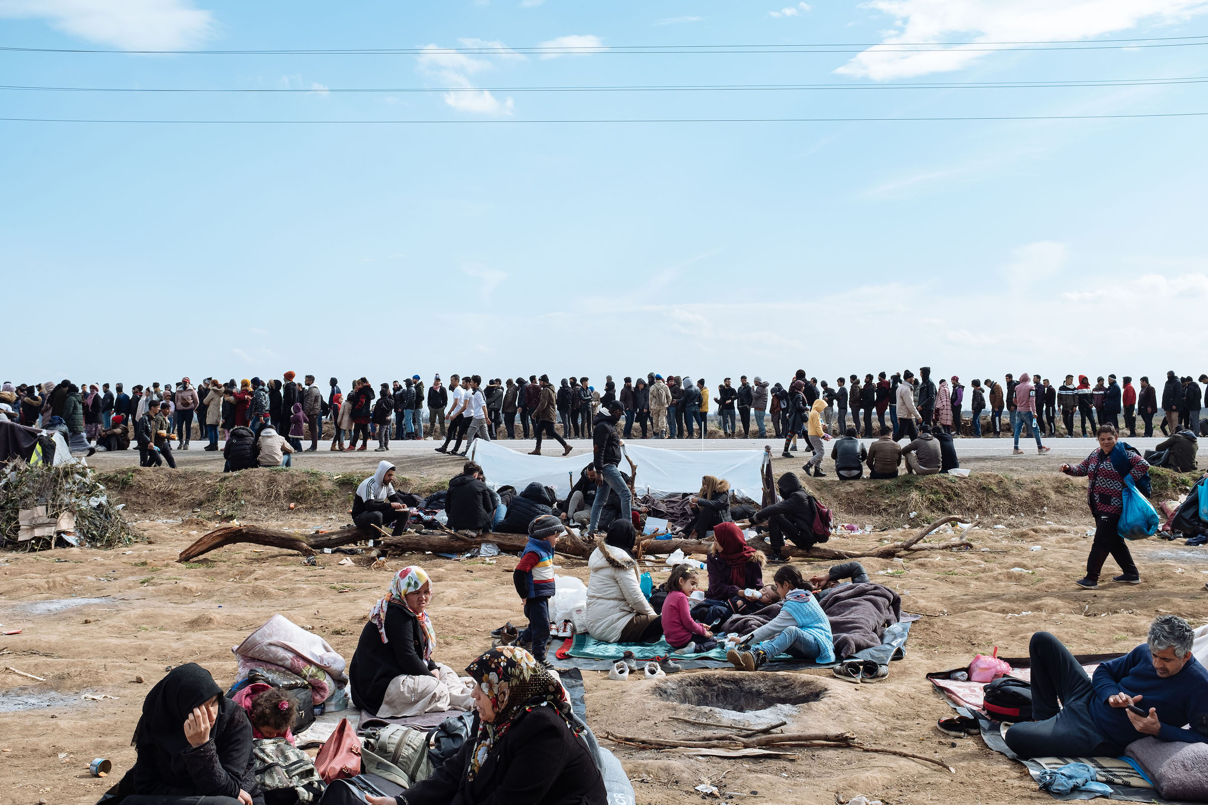 Thousands of migrants wait near the Pazarkule border crossing.