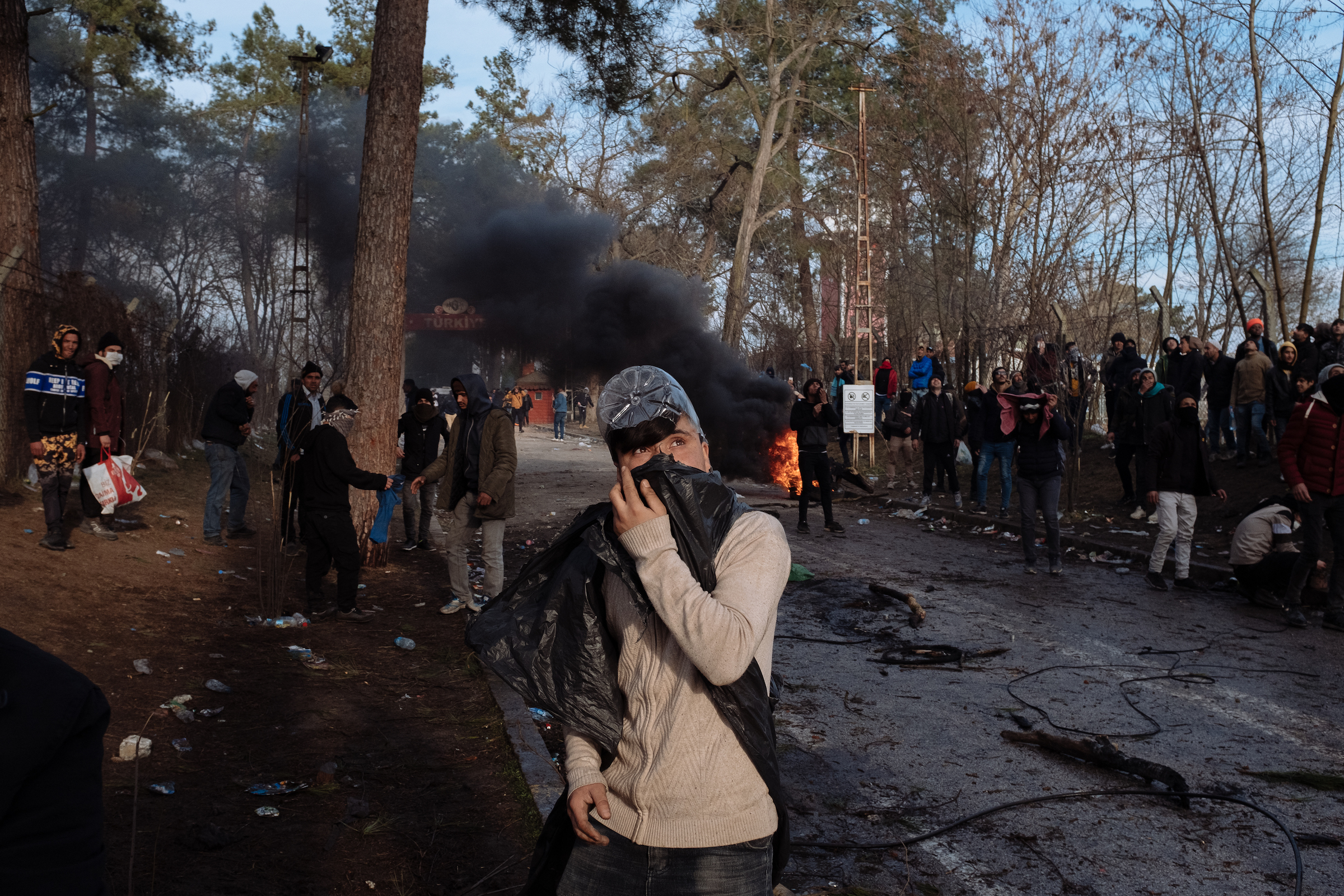 A clash with Greek police near the border.
