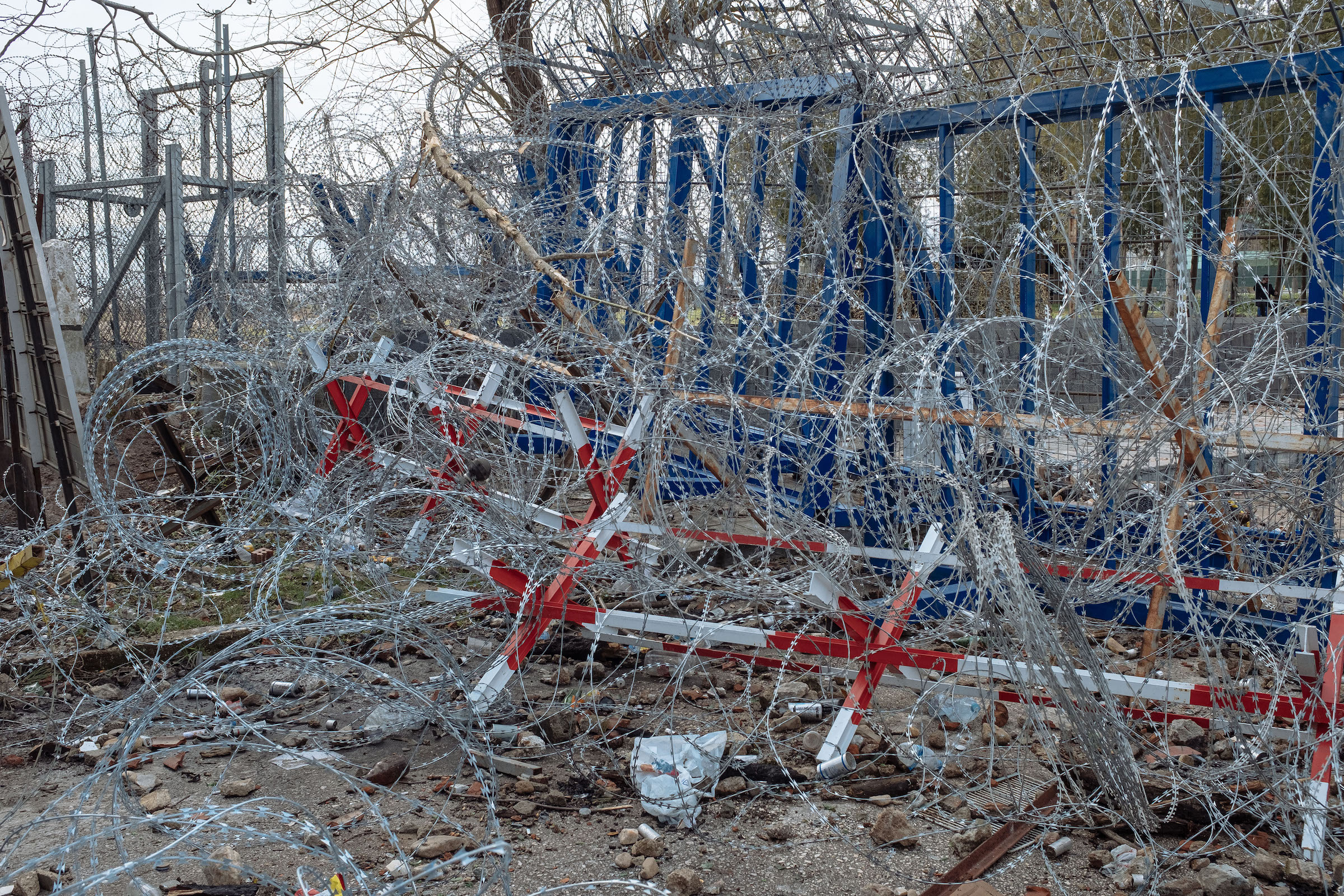 Razor wire at the border crossing.