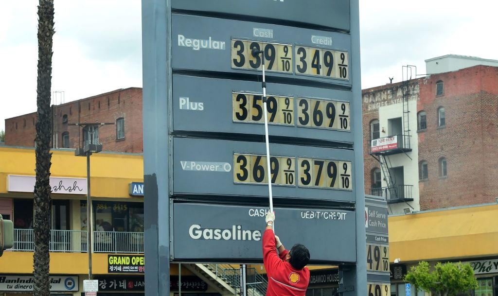 Gas station prices are adjusted as prices fall nationwide due to the coronavirus pandemic in Los Angeles on March 20, 2020. Low fossil fuel prices offer a great opportunity to eliminate the billions of dollars in government subsidies that support oil and gas, analysts say.