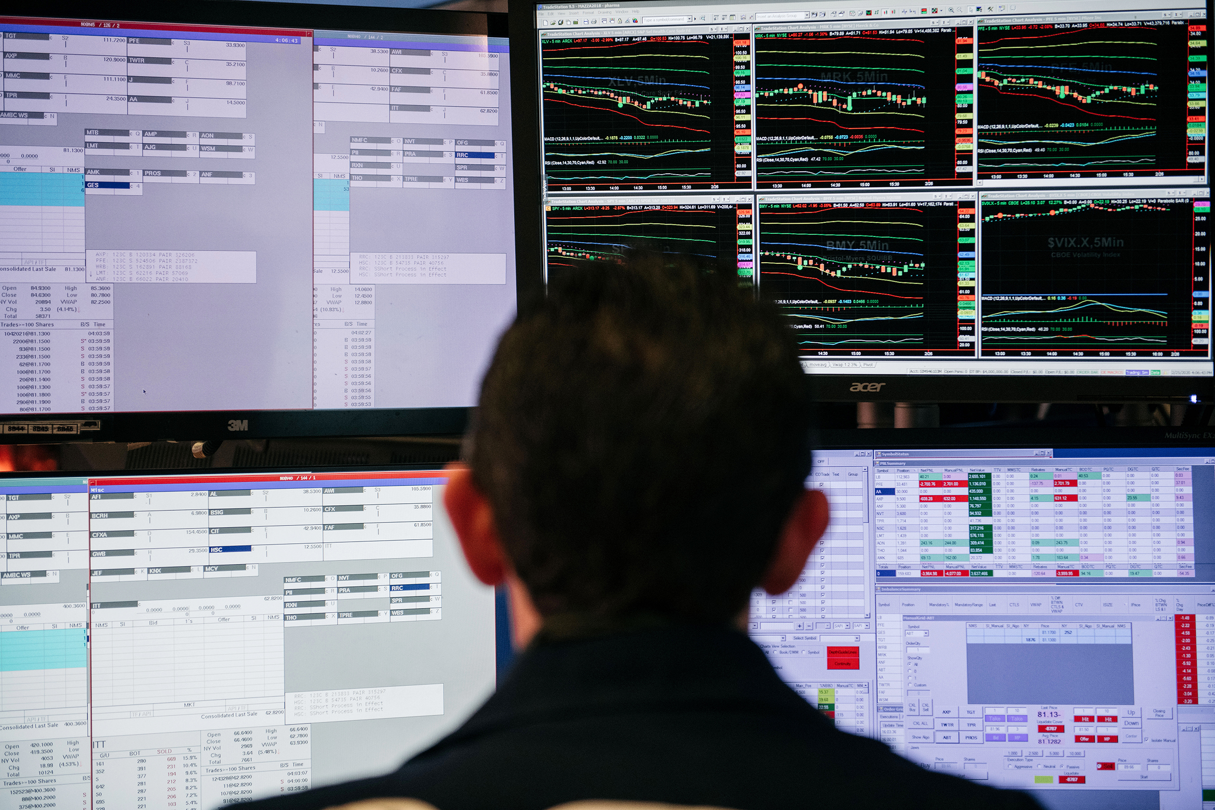 Traders work through the closing minutes of trading on the New York Stock Exchange floor on February 25, 2020 in New York City.