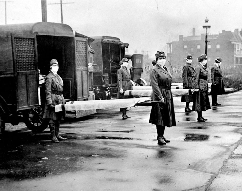 Members of the St. Louis Red Cross Motor Corps in October 1918 during the flu pandemic.
