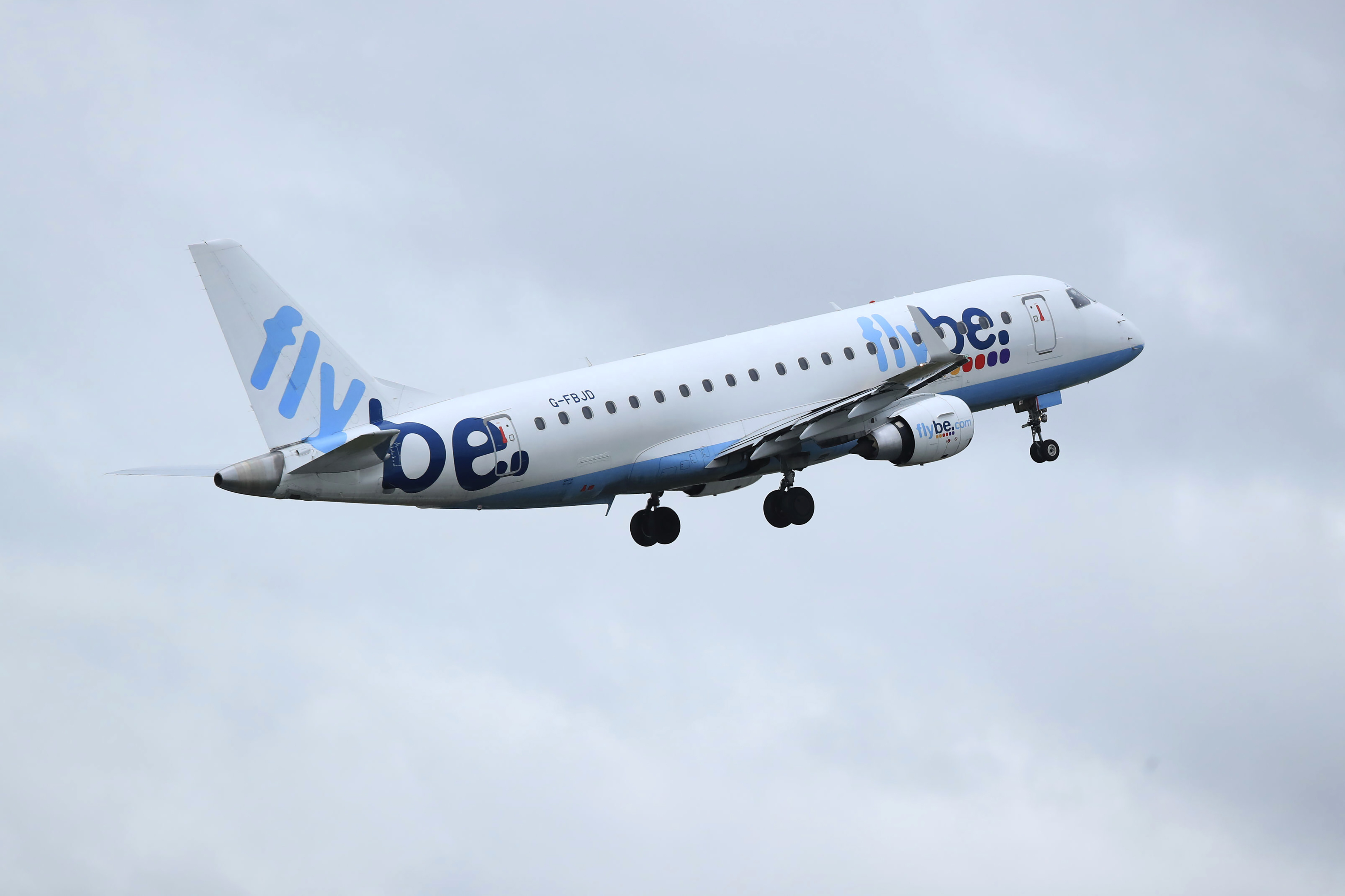 This Jan. 13, 2020, photo shows a Flybe flight departing from Manchester airport.