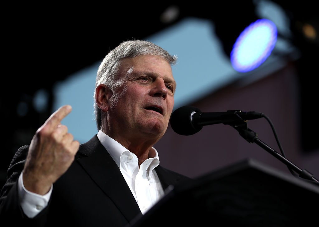Rev. Franklin Graham speaks during Franklin Graham's  Decision America  California tour at the Stanislaus County Fairgrounds on May 29, 2018 in Turlock, California.