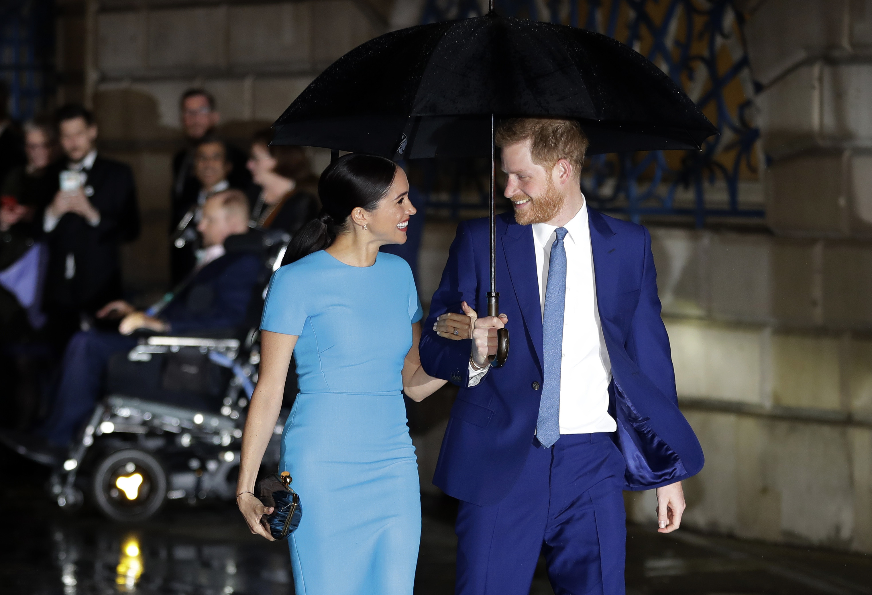 Britain's Prince Harry and Meghan, the Duke and Duchess of Sussex arrive at the annual Endeavour Fund Awards in London, on March 5, 2020.