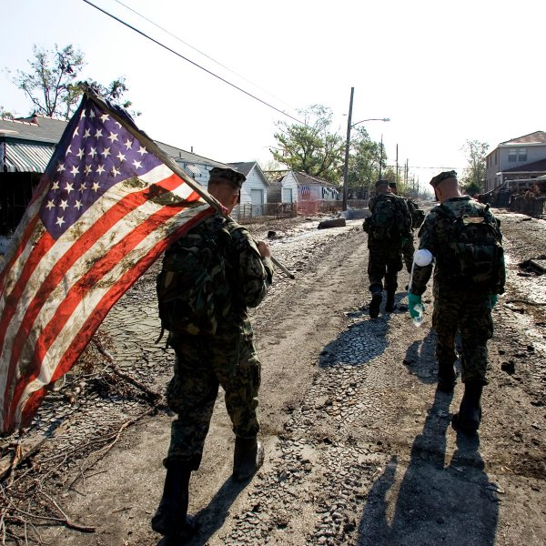 Marines in the Ninth Ward of New Orleans after Hurricane Katrina
