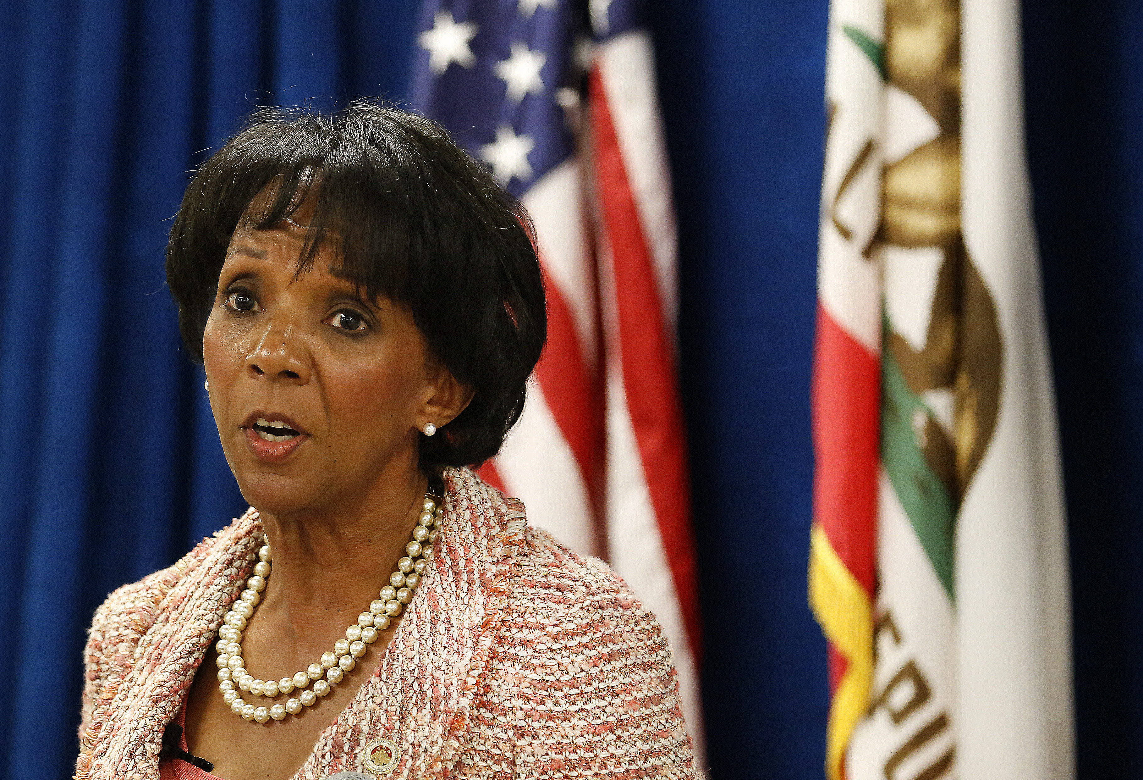 Los Angeles County District Attorney Jackie Lacey announces the creation of the Conviction Review Unit during a press conference on June 29, 2015 in  Los Angeles.