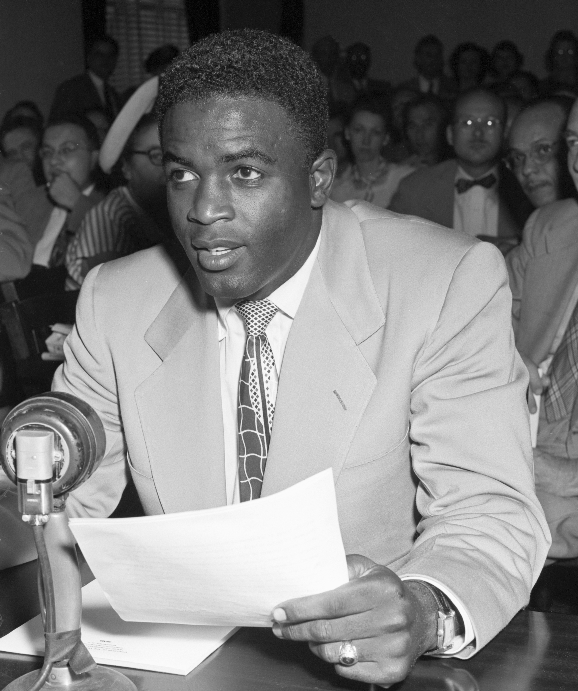 Jackie Robinson testifying before the House Un-American Activities Committee on July 18, 1949