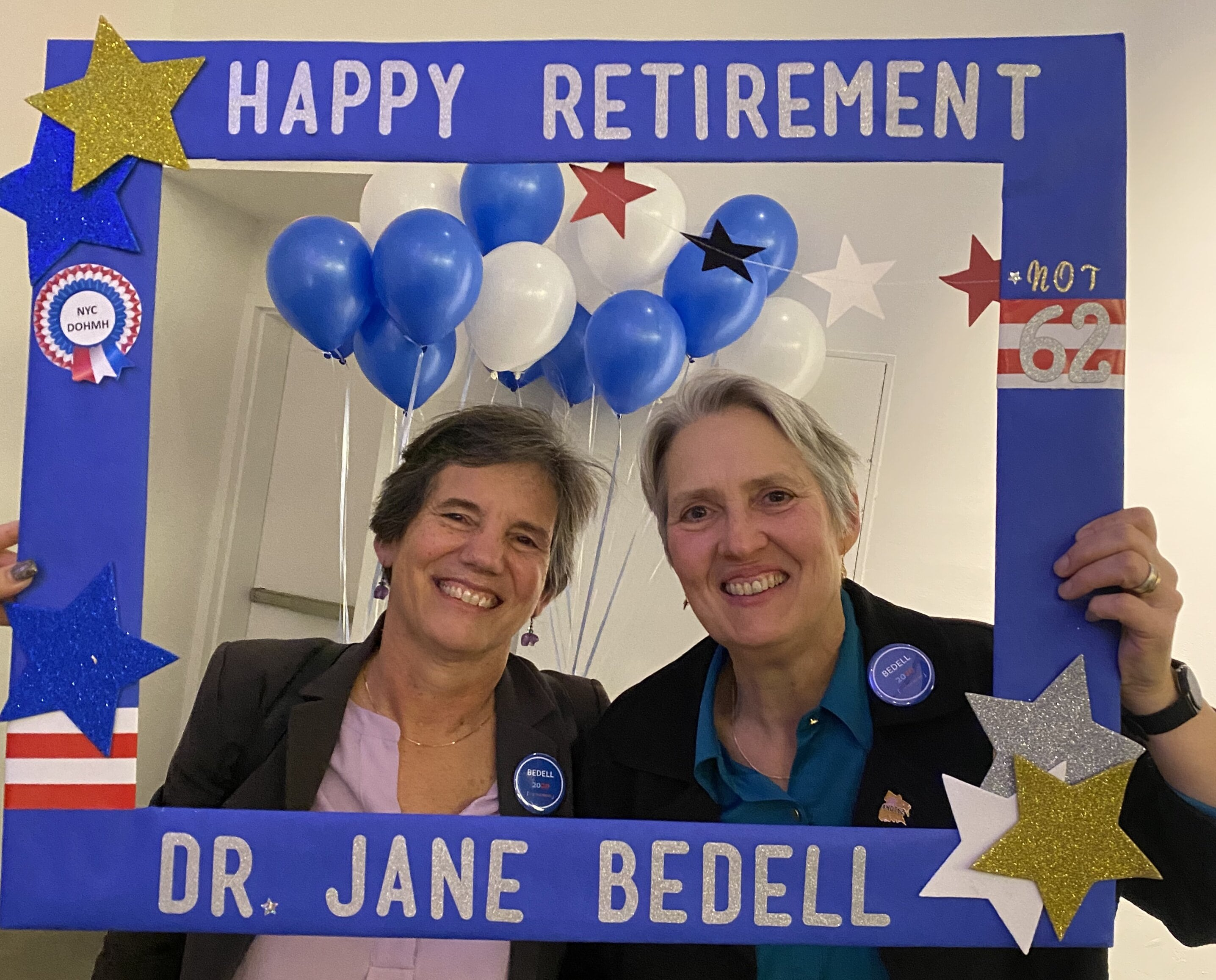 Dr. Jane Bedell (right) is pictured at her retirement party at the Bronx Museum of the Arts on Feb. 28, 2020.
