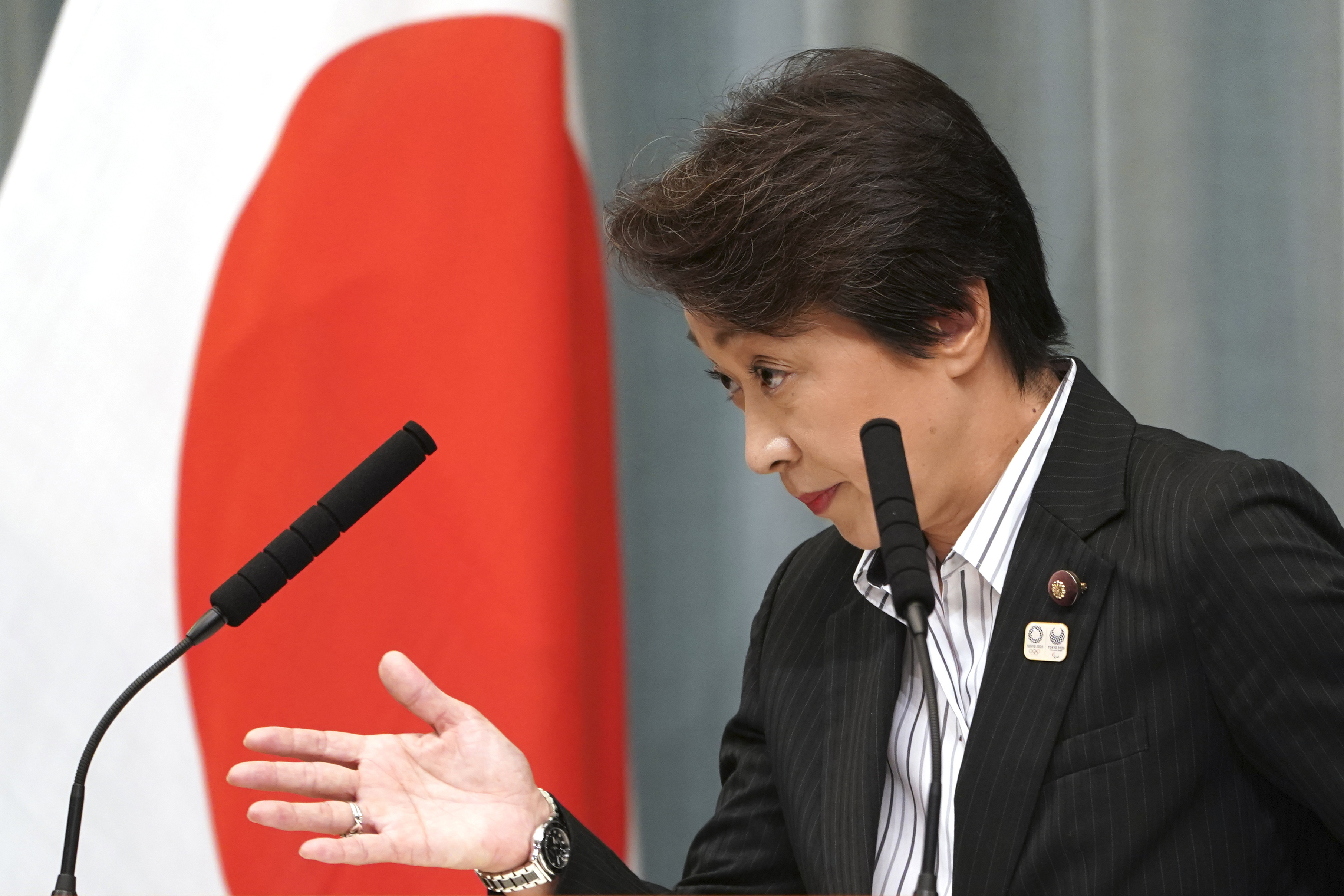 In this Sept. 11, 2019, file photo, then newly appointed Minister in charge of the Tokyo Olympic and Paralympic Games Seiko Hashimoto speaks during a press conference at the prime minister's official residence in Tokyo.
