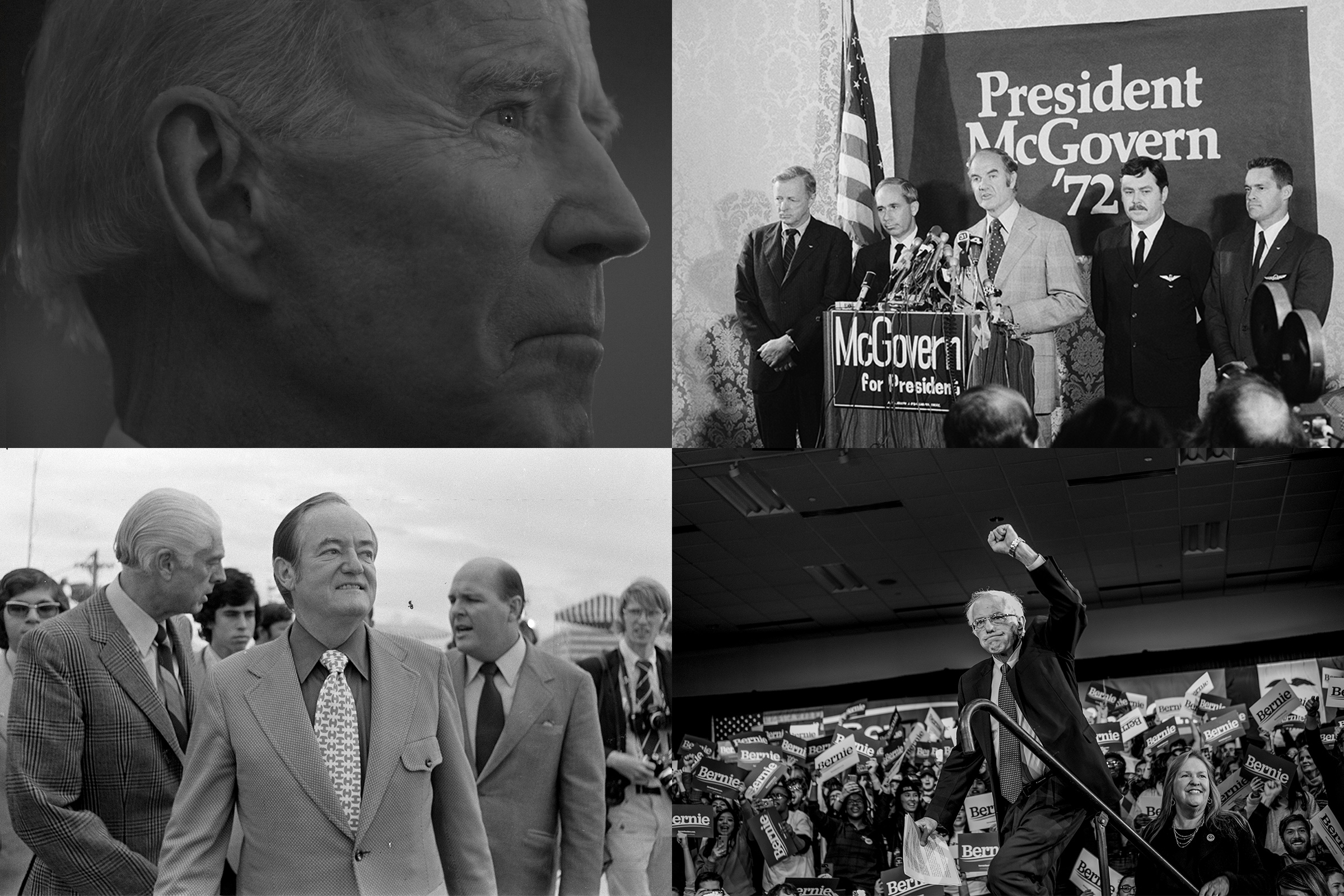 From top left, clockwise: Joe Biden during a community event in Fort Dodge, Iowa, on Jan. 21; George McGovern urges U.N. Security Council to take action to prevent air hijackings in New York June 19, 1972; Bernie Sanders during a rally at the Holiday Inn in Des Moines, Iowa, on Feb. 3; Hubert Humphrey visits the Miami airport during the Democratic National Convention in Florida on July 10, 1972.