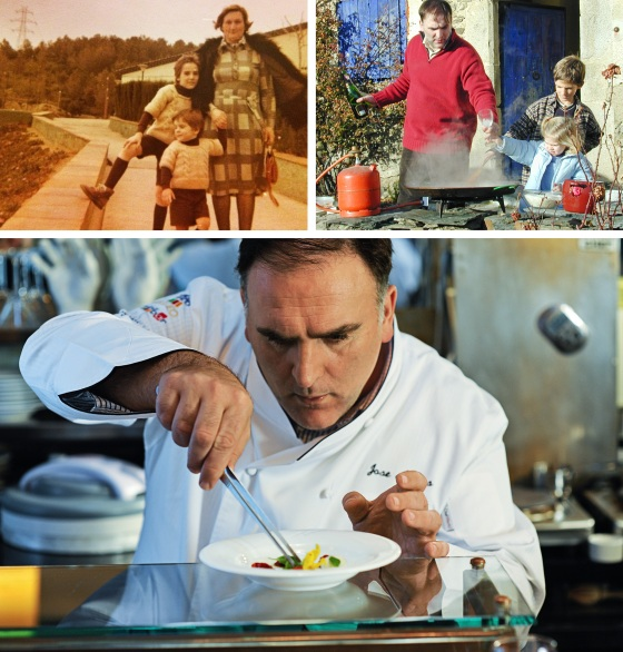 Three photos showing Andrés, left, with his mother and younger brother, grew up in northern Spain; Cooking with his daughter in the Spanish countryside; Andrés works on a dish at minibar, one of his Washington, D.C., restaurants, in 2010
