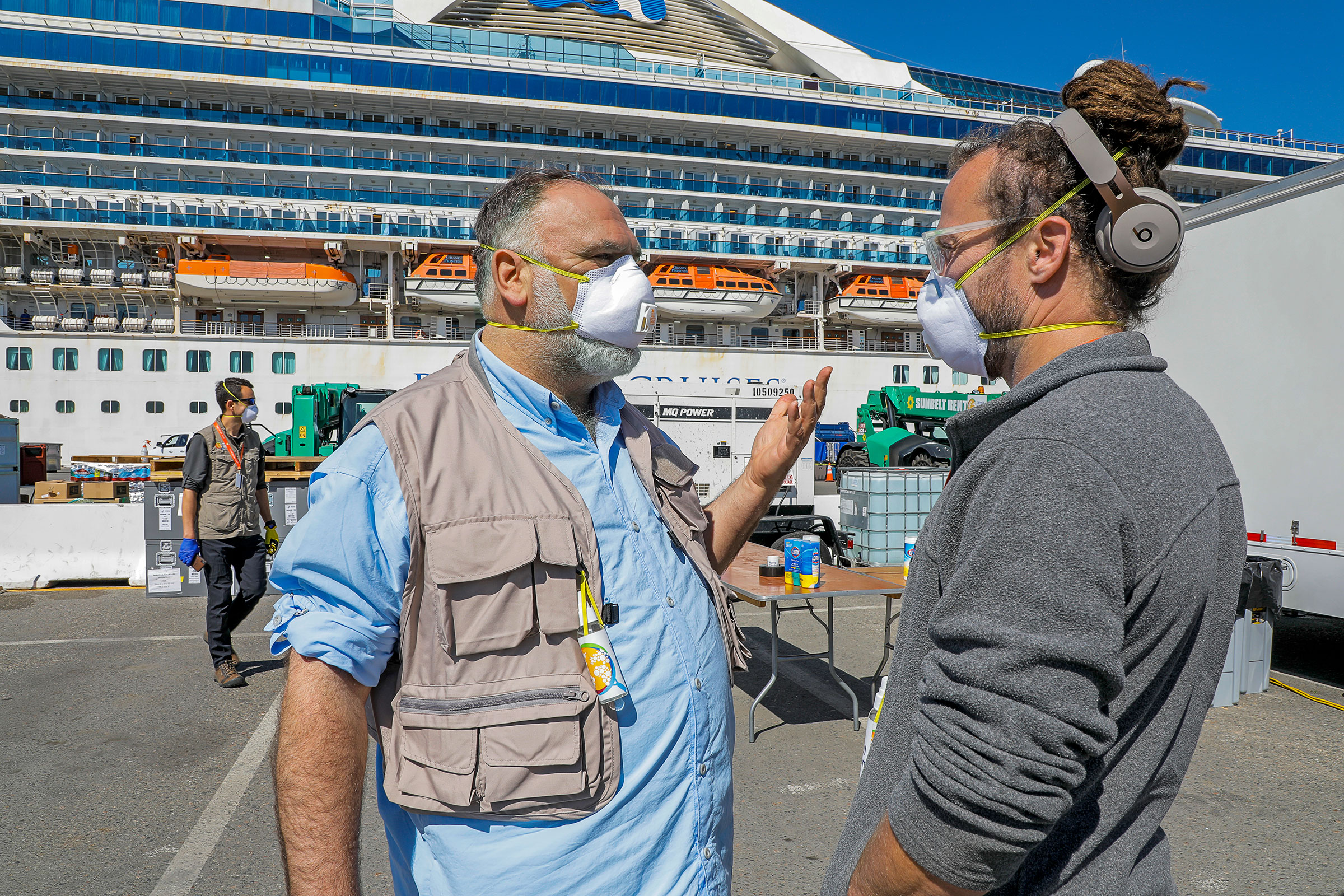 With a World Central Kitchen staffer at a quarantined cruise ship, in Oakland, in March
