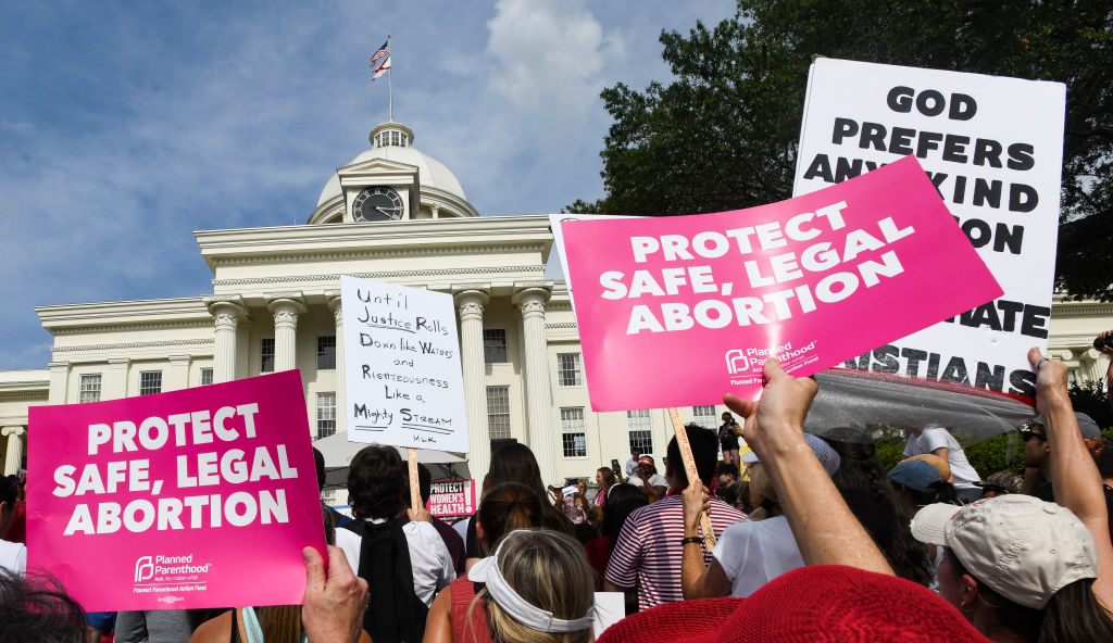 Protesters participate in a rally against one of the nation's most restrictive bans on abortions in Montgomery, Alabama on on May 19, 2019.