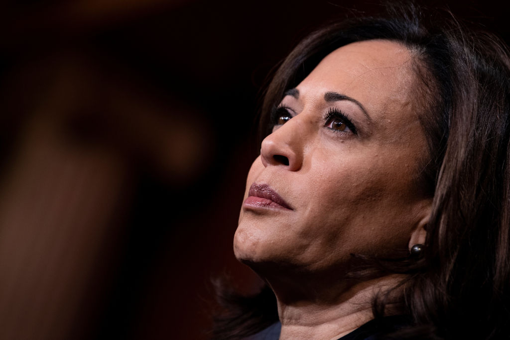 Senator Kamala Harris listens during a press conference during the impeachment trial of  President Donald Trump on Jan. 31, 2020, in Washington, DC.