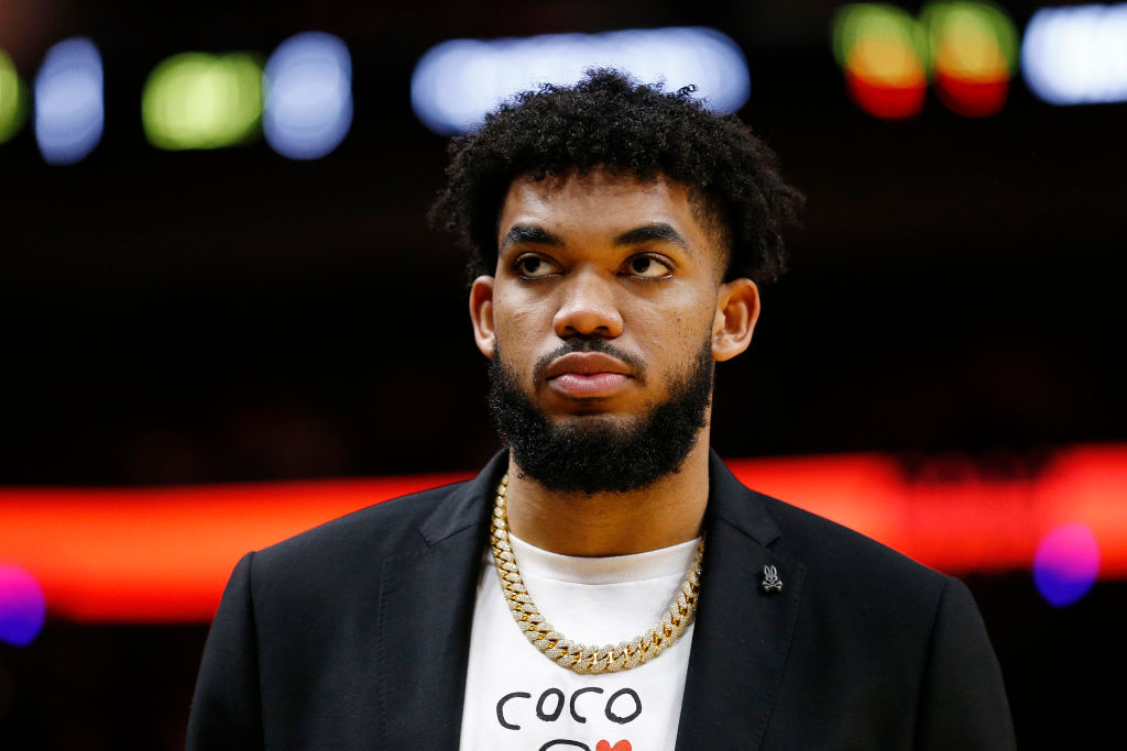 Karl-Anthony Towns #32 of the Minnesota Timberwolves looks on against the Miami Heat during the second half at American Airlines Arena on February 26, 2020 in Miami, Florida.