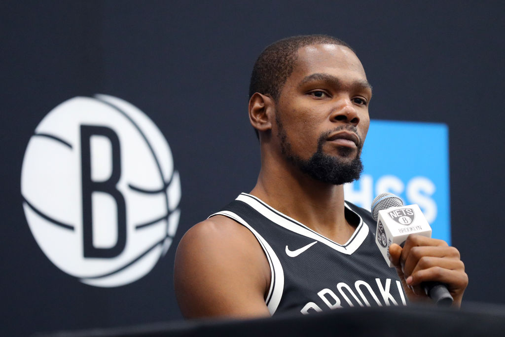 Kevin Durant of the Brooklyn Nets speaks to media during Brooklyn Nets Media Day at HSS Training Center on Sept. 27, 2019 in the Brooklyn Borough of New York City.