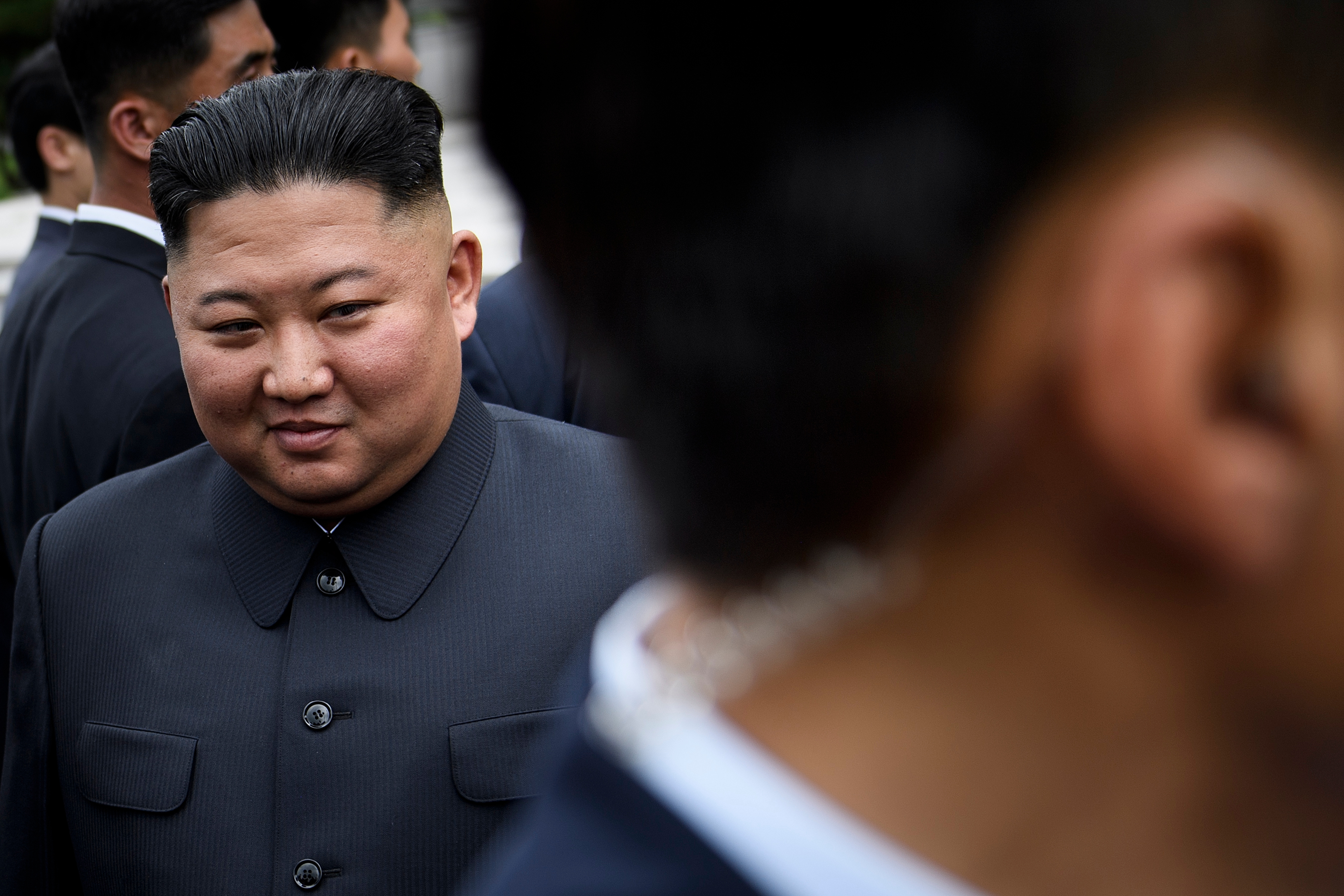 North Korea's leader Kim Jong Un walks to a meeting with U.S. President Donald Trump in the Demilitarized Zone (DMZ) on June 30, 2019, in Panmunjom, Korea.