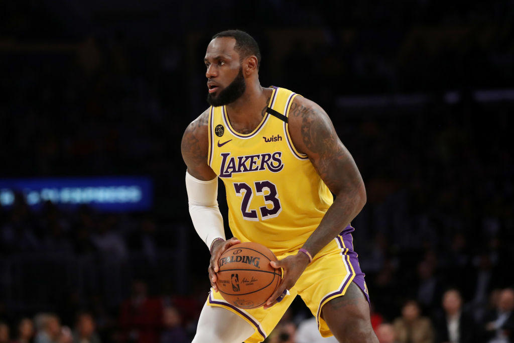 LeBron James of the Los Angeles Lakers handles the ball in a game against the Philadelphia 76ers during the second half at Staples Center on March 03, 2020 in Los Angeles, California.