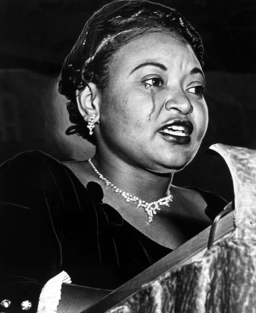 Mamie Till-Bradley, mother of lynched teenager Emmett Till, cries as she recounts her son's death on Oct. 22, 1955, in Washington D.C.