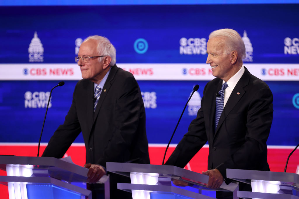 Former Vice President Joe Biden and Vermont Sen. Bernie Sanders during the Democratic presidential primary debate on Feb. 25, 2020, in Charleston, South Carolina.