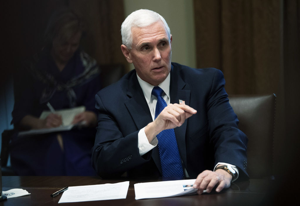 U.S. Vice President Mike Pence speaks during a meeting with President Donald Trump and nurses at the White House in Washington, D.C. on March 18, 2020.