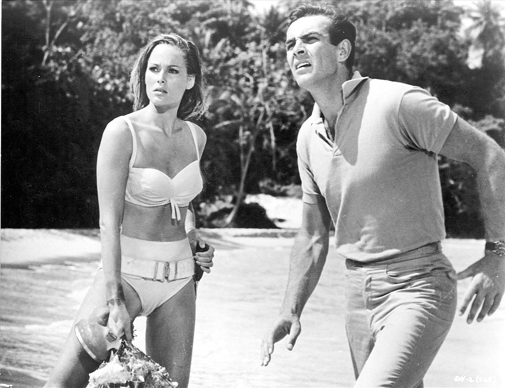 1963:  Actors Ursula Andress and Sean Connery in a scene from 'Dr. No  directed by Terence Young.  (Photo by Michael Ochs Archives/Getty Images)