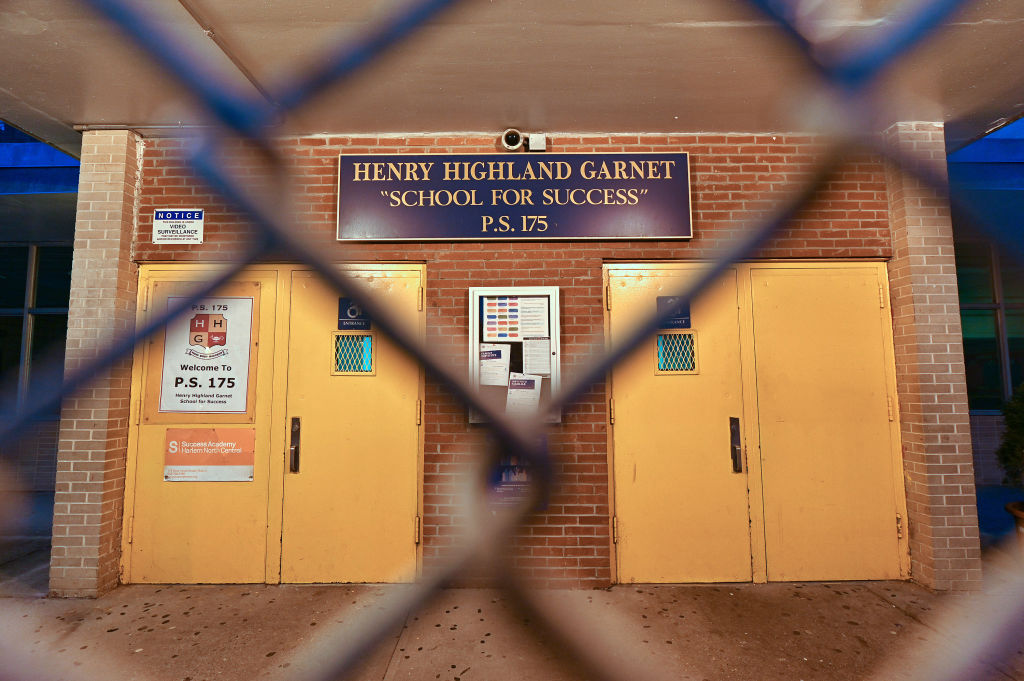 An exterior view of public school P.S. 175 Henry H Garnet in the Harlem neighborhood of Manhattan as the coronavirus continues to spread across the United States on March 14, 2020 in New York City.