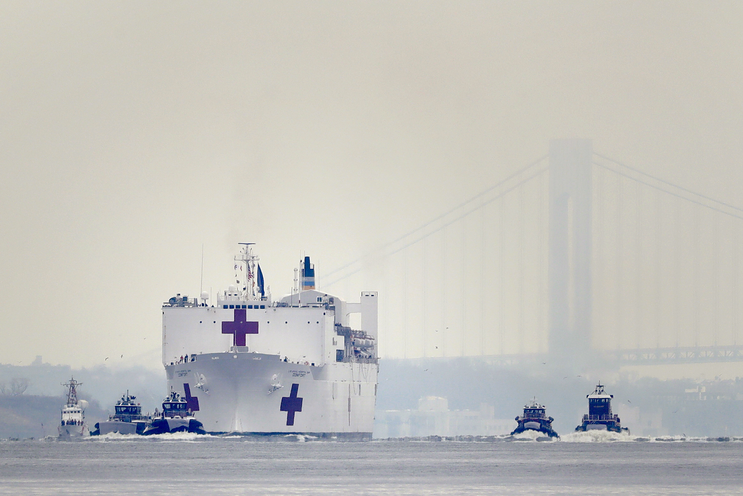 The Navy hospital ship USNS Comfort arrives in New York, on March 30, 2020.