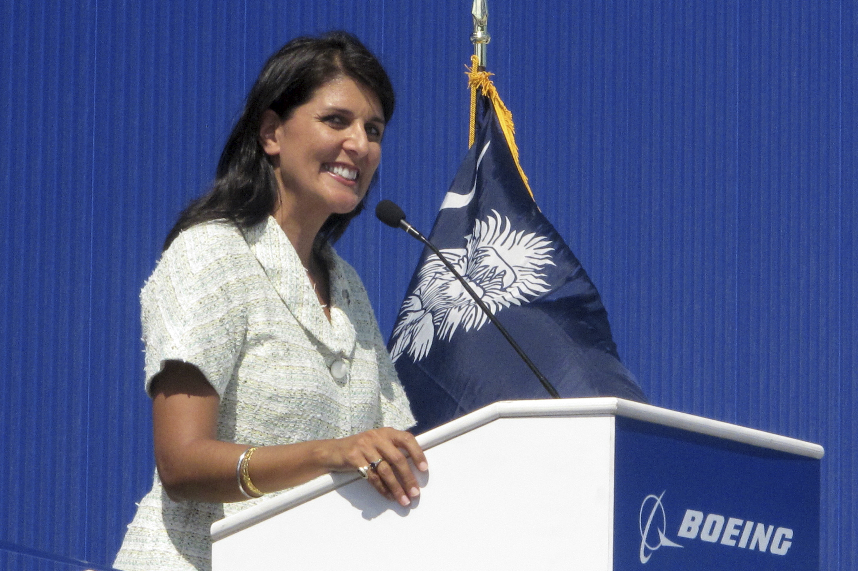 In this June 10, 2011 file photo former South Carolina Gov. Nikki Haley speaks during the dedication of Boeing Co.'s $750 million final assembly plant in North Charleston, S.C.