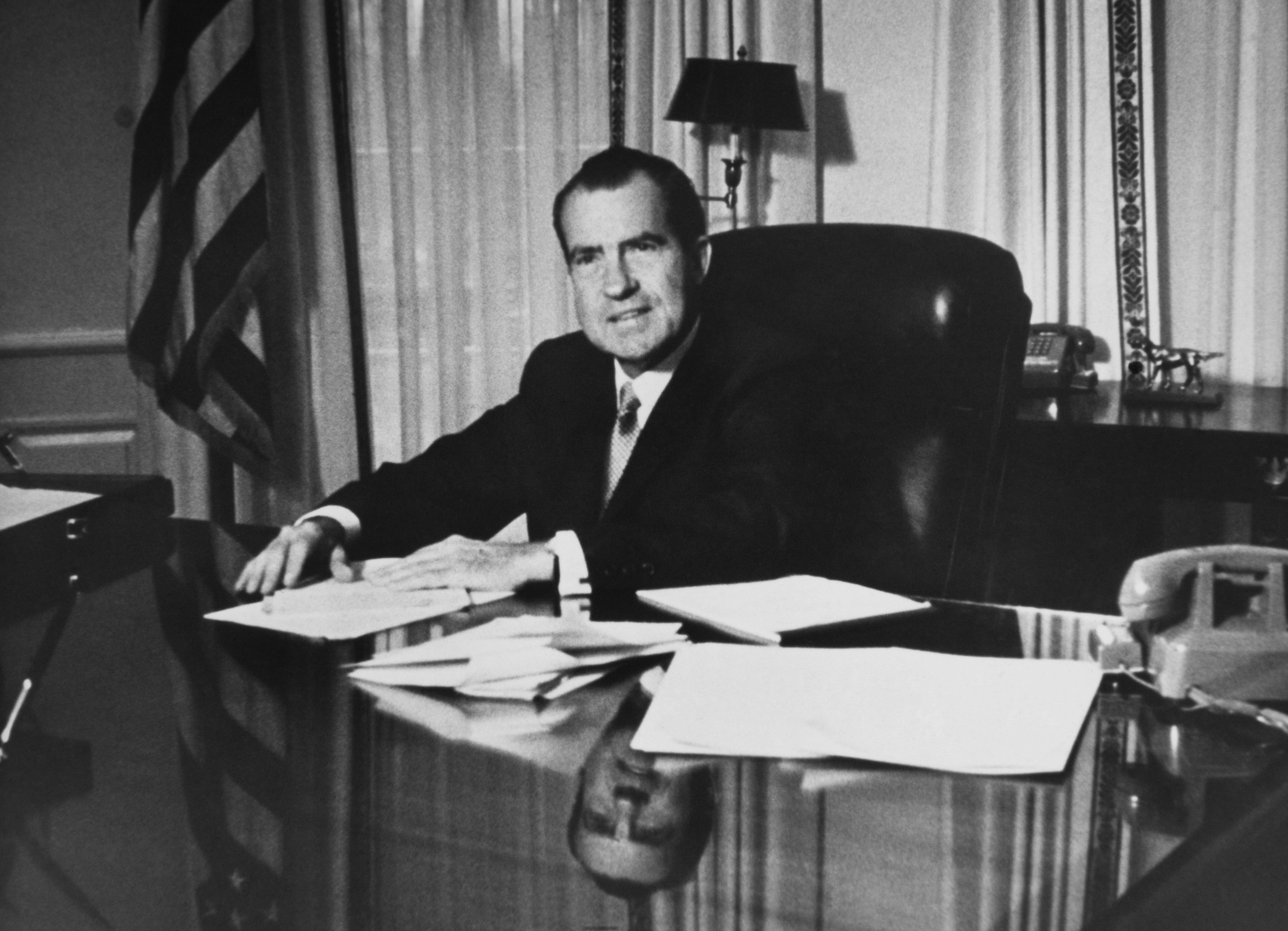 President Nixon at the White House in 1969