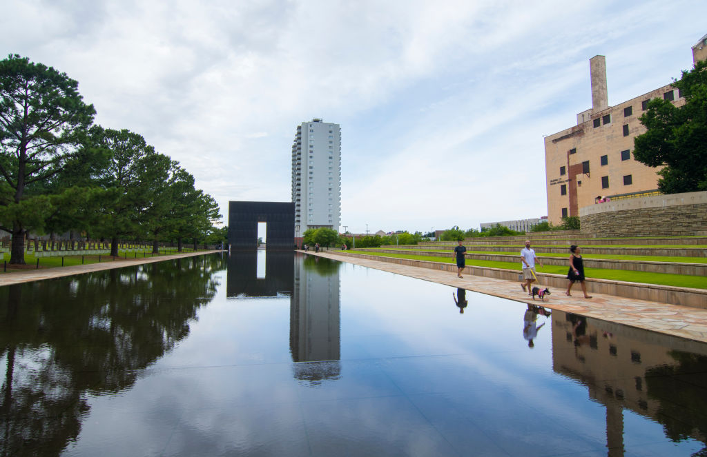 Oklahoma City Oklahoma OK, OKC, historical disaster OKC bombing reflection lake at OKC Bombing Memorial that happened on April 19, 1995.