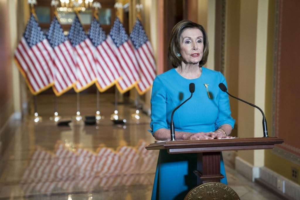 U.S. House Speaker Nancy Pelosi speaks during a news conference on Capitol Hill in Washington, D.C., U.S., on Friday, March 13, 2020. Pelosisaid she's near anagreementwith the Trump administration on a bill to mitigate the impact of the outbreak.