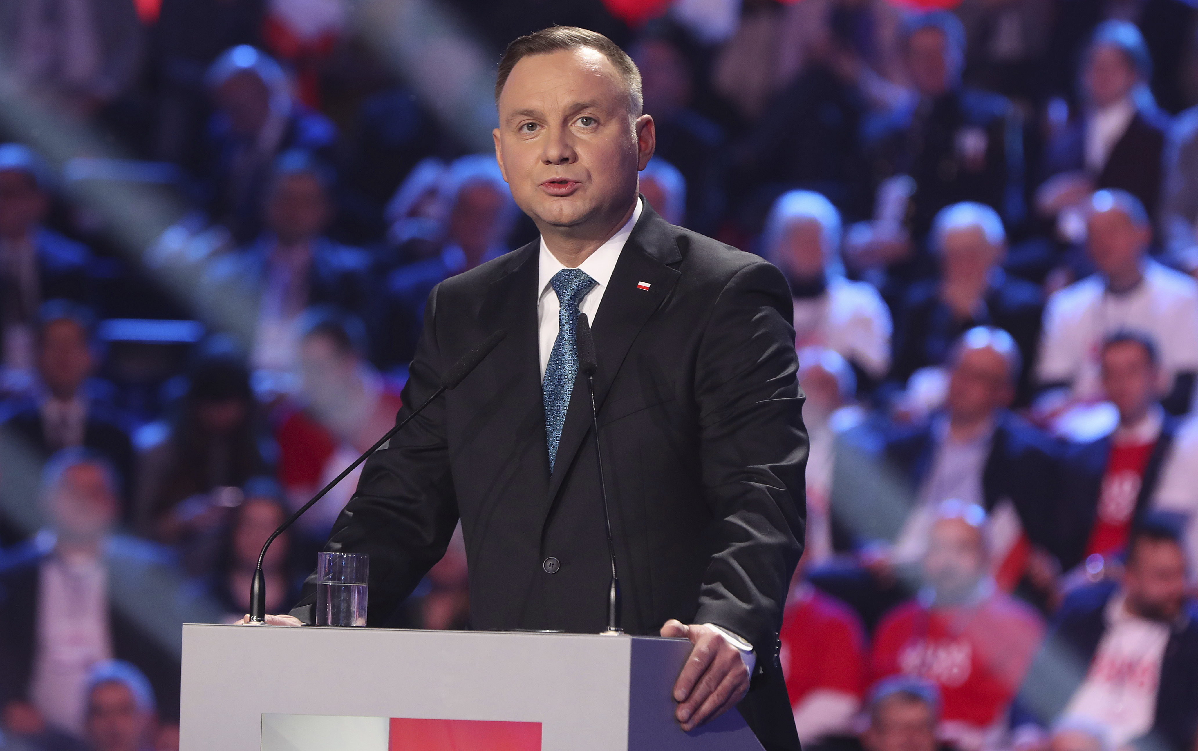 Poland's President Andrzej Duda addresses supporters during a ruling Law and Justice party convention that backed his re-election bid in the May 10 presidential vote in Warsaw, Poland, on Feb. 15, 2020.