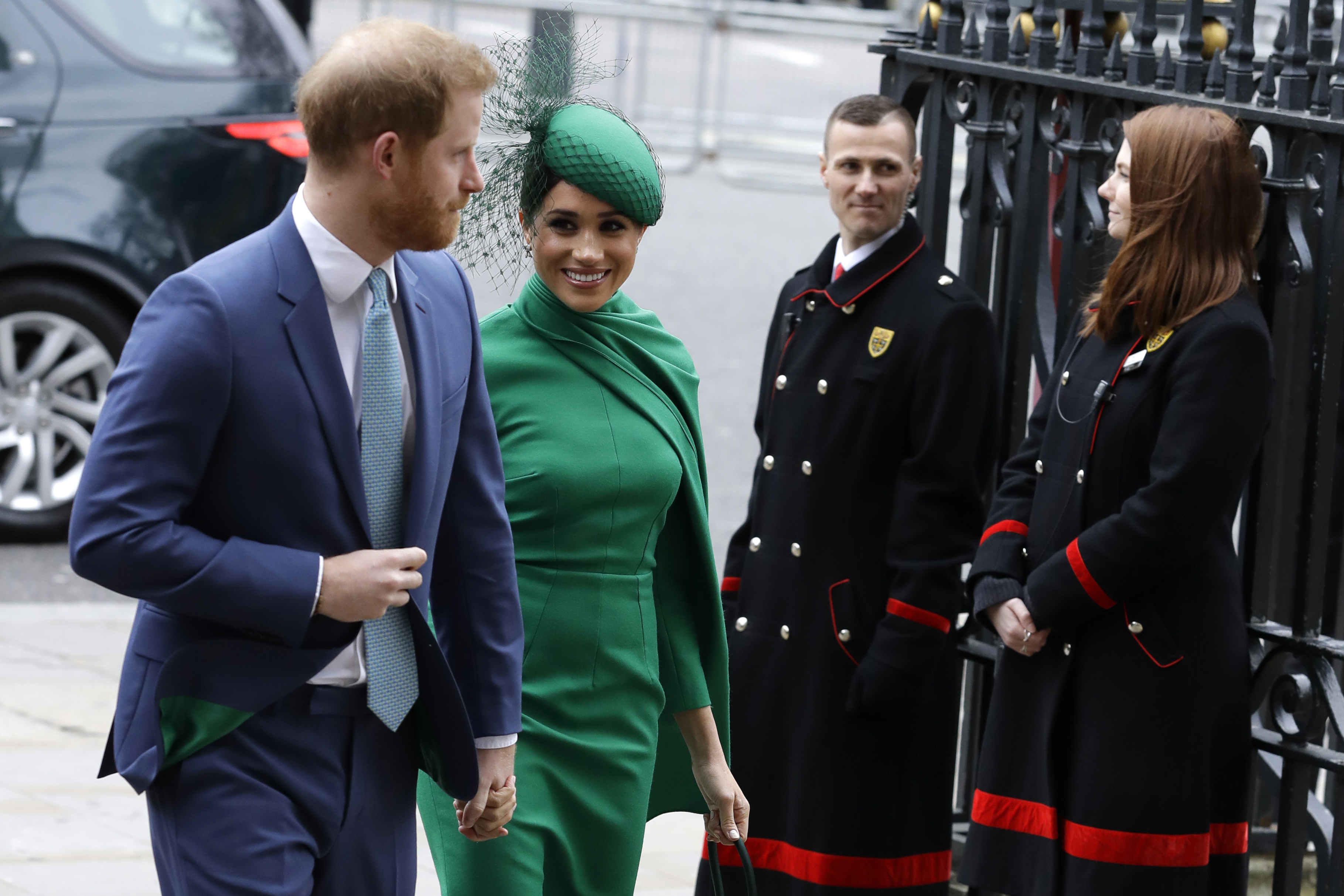 Britain's Harry and Meghan the Duke and Duchess of Sussex arrive to attend the annual Commonwealth Day service at Westminster Abbey in London on March 9, 2020.